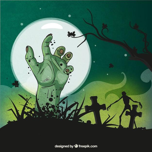 Fundo assustador de halloween Vetor Premium