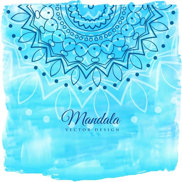 Fundo azul aquarela com arte mandala Vetor grátis