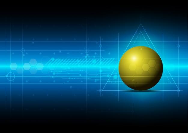 Fundo azul com bola amarela Vetor Premium