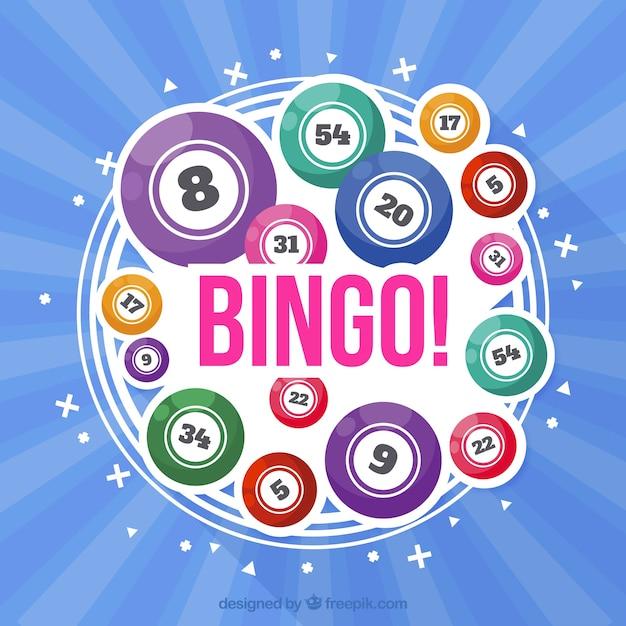 Fundo azul com bolas coloridas do bingo Vetor grátis