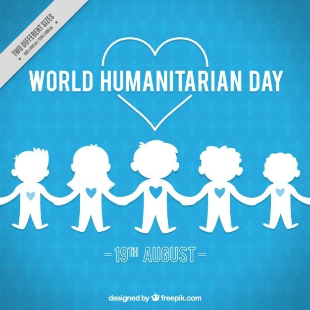 Fundo azul com crianças de dia humanitária Vetor grátis