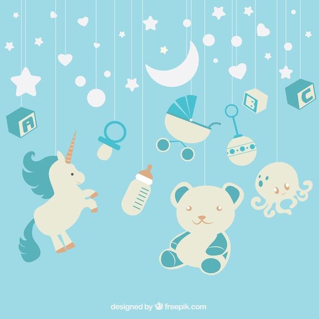 Baby Boy Hd Wallpapers: Fundo Azul Com Elementos Do Bebê Pendurado