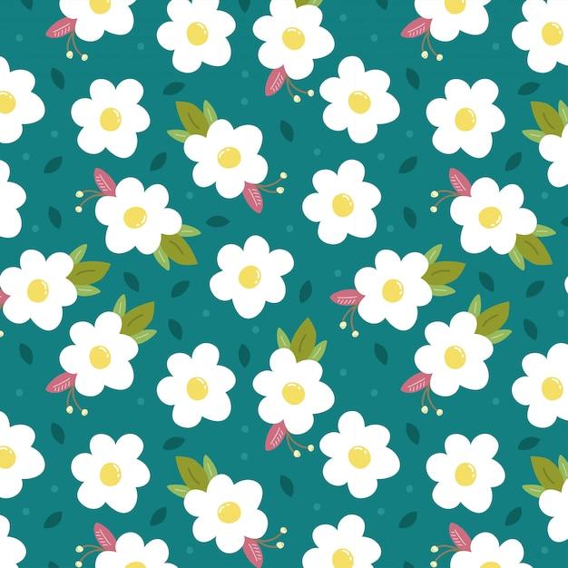 Fundo azul com flores brancas da primavera Vetor Premium