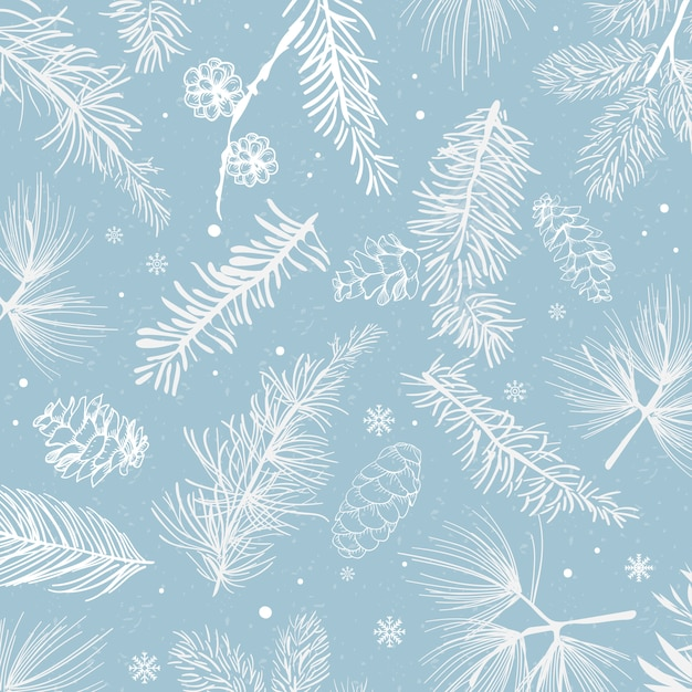 Fundo azul com vetor de decoração de inverno Vetor grátis