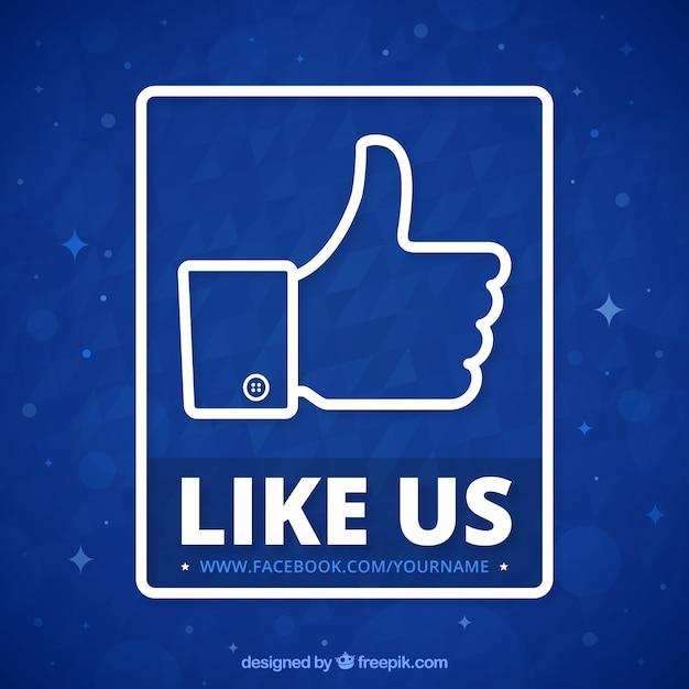 Fundo azul de como símbolo facebook Vetor grátis