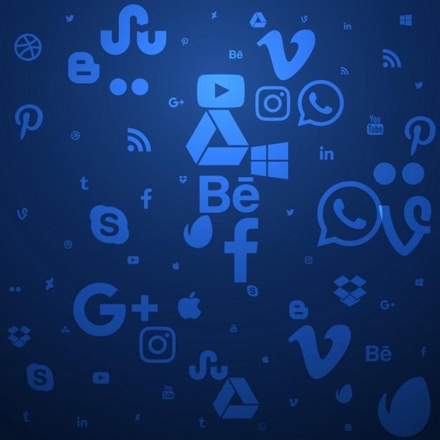 Fundo azul de mídia social Vetor grátis