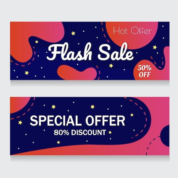 Fundo azul e rosa banner resumo flash venda Vetor Premium