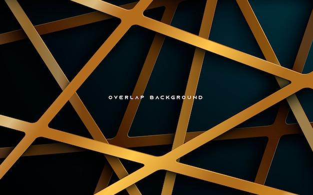 Fundo azul escuro com camadas douradas sobrepostas Vetor Premium
