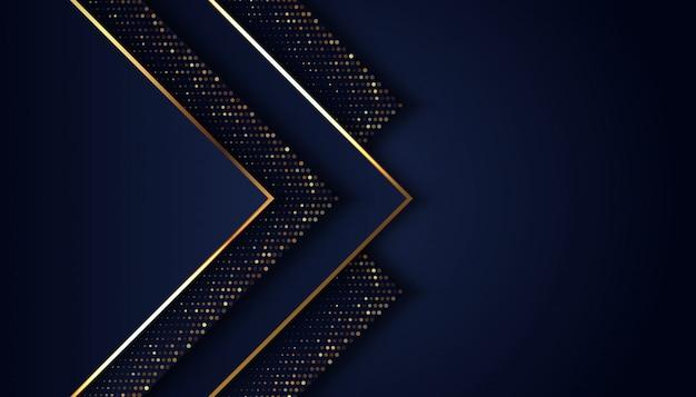 Fundo azul escuro de luxo com pontos de brilhos dourados Vetor Premium