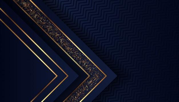 Fundo azul escuro de luxo com pontos dourados brilhantes Vetor Premium