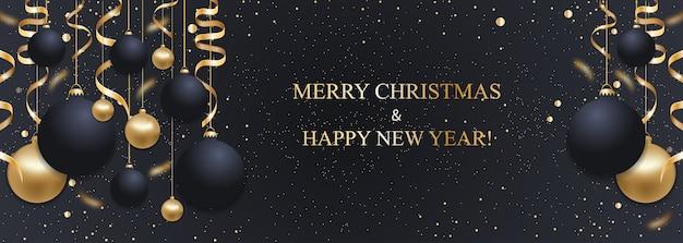 Fundo azul escuro de natal com bolas de natal e fitas douradas. decoração de feliz ano novo. banner de natal elegante. Vetor Premium