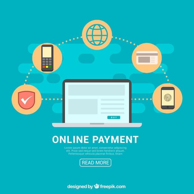 Fundo azul, ícones de pagamento on-line Vetor grátis