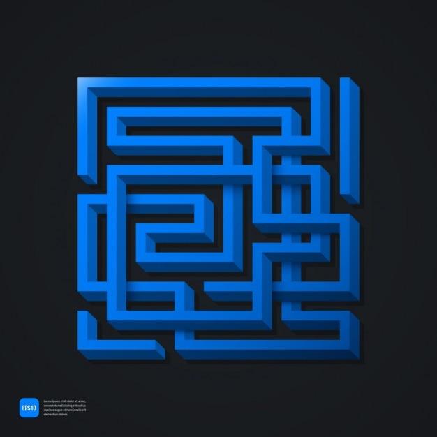 Fundo azul labyrinth Vetor grátis