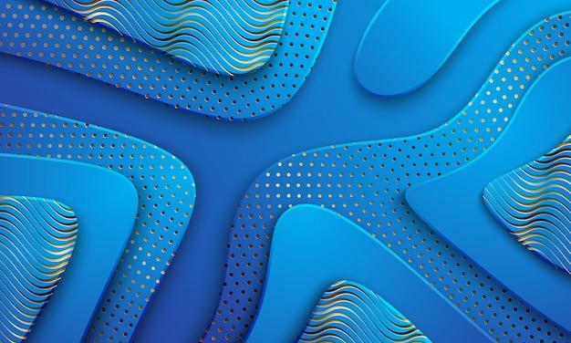 Fundo azul luxuoso textured e ondulado com uma combinação de linhas e de pontos de brilho. Vetor Premium