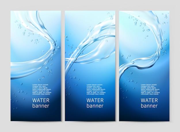 Fundo azul vetor com fluxos e gotas de água cristalina Vetor grátis