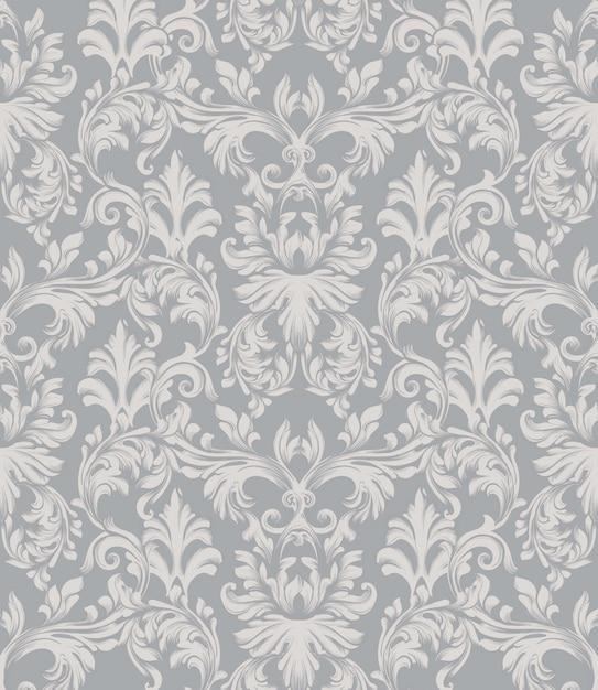Fundo barroco do teste padrão do ornamento do vetor. textura de tecido de decoração com estilo vintage e rica Vetor Premium
