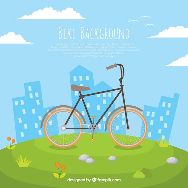 Fundo bonito com bicicleta e edifícios Vetor grátis