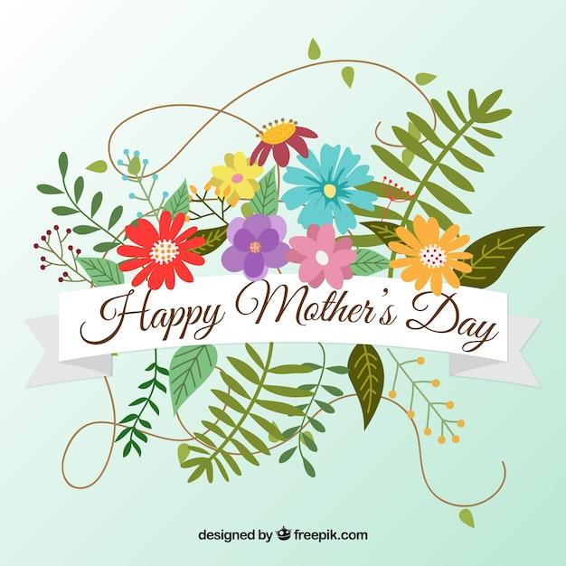 fundo bonito com flores coloridas para o dia da mãe baixar vetores