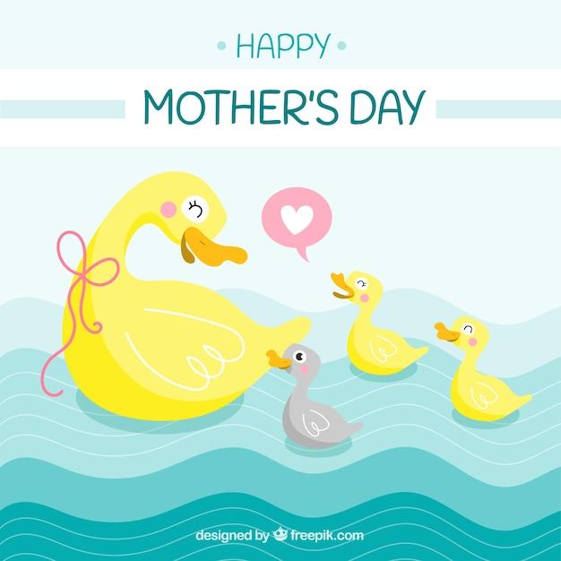 Fundo bonito com patos para o dia das mães Vetor grátis
