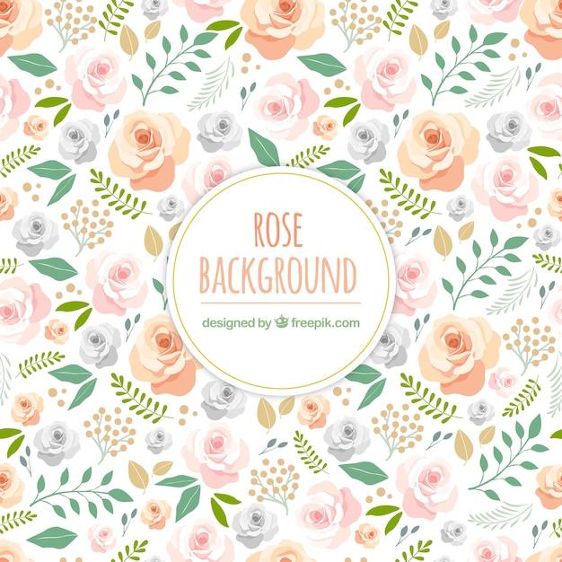 Fundo bonito com rosas desenhadas à mão Vetor grátis