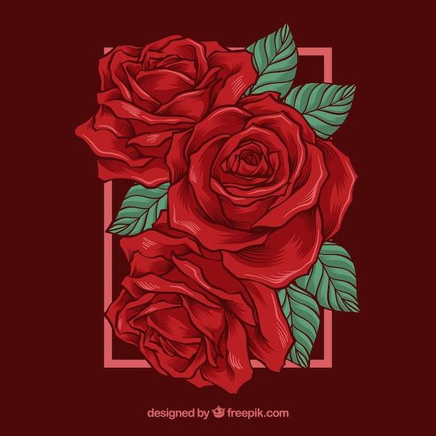 Fundo bonito com rosas vermelhas Vetor grátis