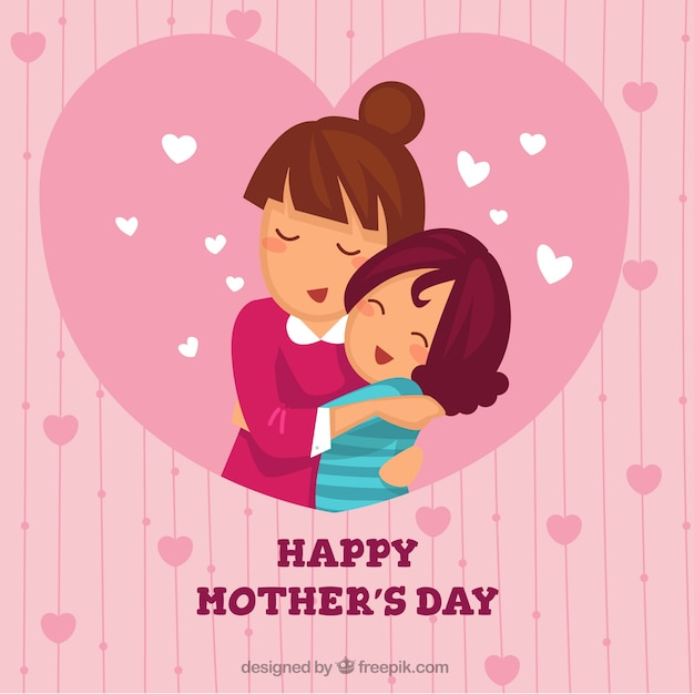 Fundo bonito da mãe que abraça sua filha Vetor grátis