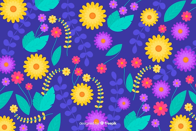 Fundo bonito de flores coloridas Vetor grátis