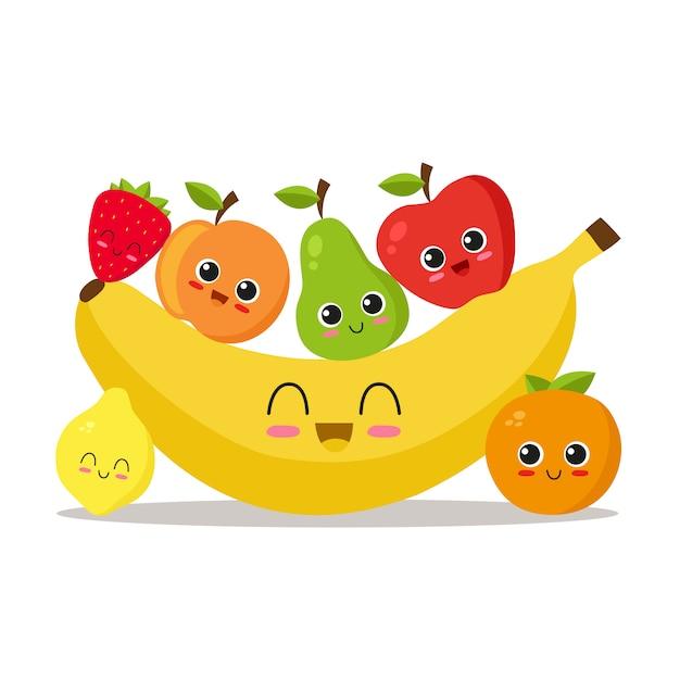 Fundo bonito de frutas | Baixar vetores Premium  Cute