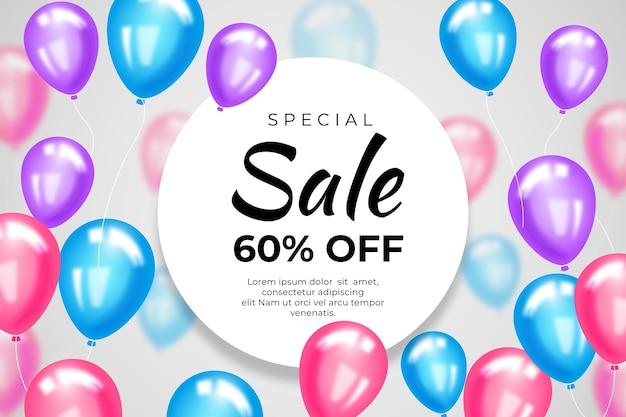 Fundo bonito de venda com balões Vetor grátis