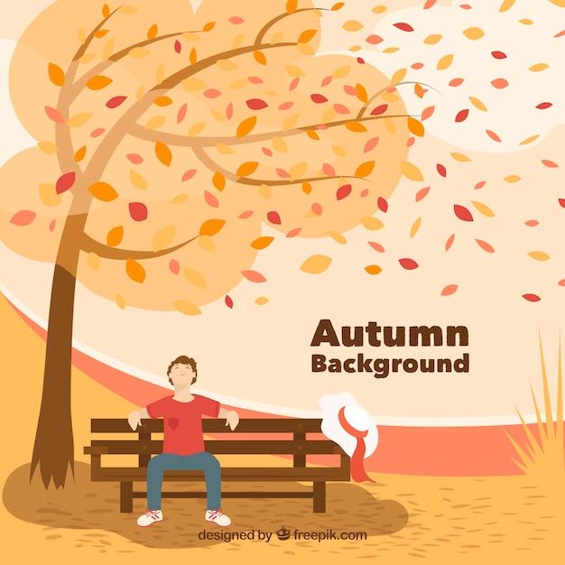 Fundo bonito do outono com design plano Vetor grátis