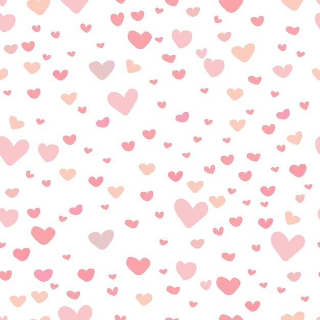 Fundo bonito do teste padrão do coração. Vetor Premium