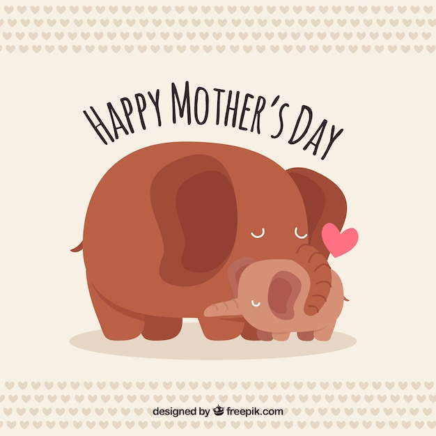Fundo bonito dos elefantes para o dia da mãe Vetor grátis