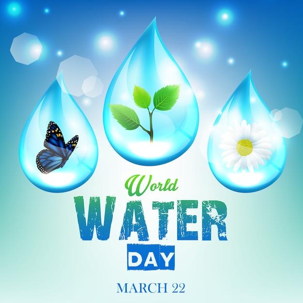 Fundo bonito ornamento para o dia mundial da água Vetor Premium
