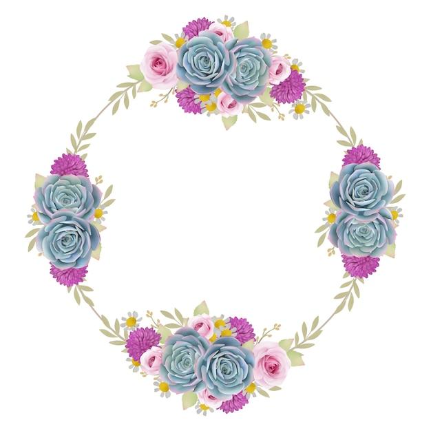 Fundo bonito quadro com rosas florais e suculentas Vetor Premium