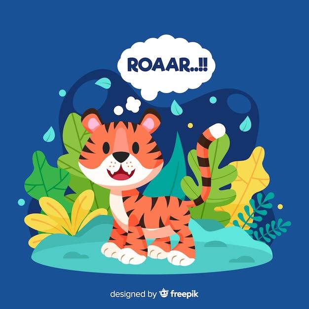 Fundo bonito tigre Vetor grátis