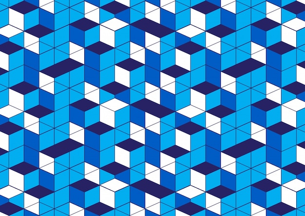 Fundo branco azul padrão geométrico Vetor Premium
