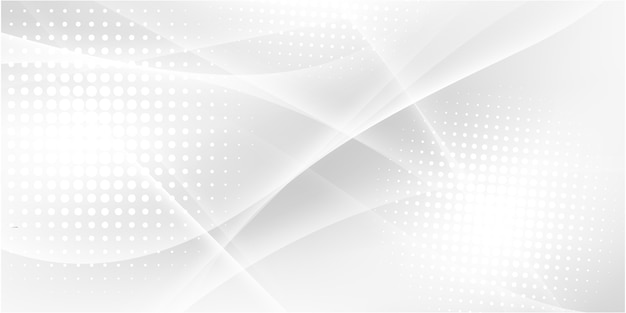 Fundo branco cinzento abstrato com ondas dinâmicas. tecnologia Vetor Premium
