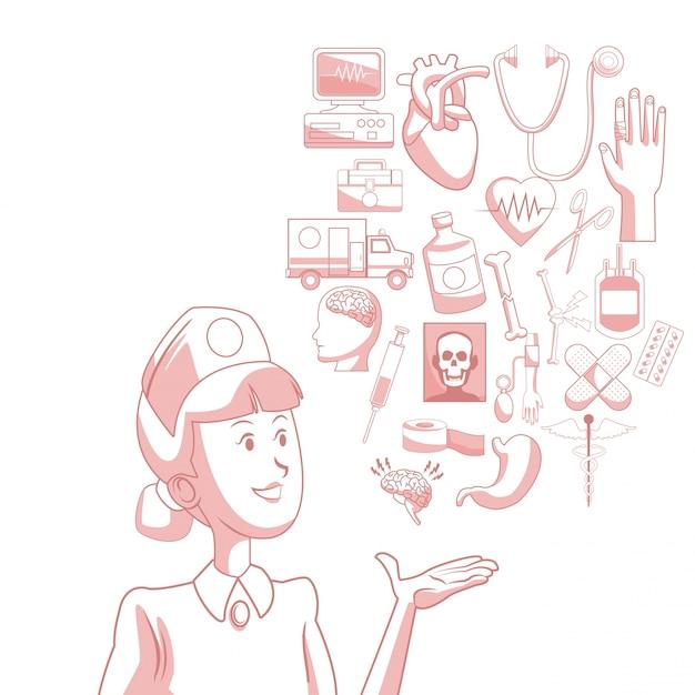 Fundo branco com seções de cor vermelha da enfermeira da silhueta com ícones flutuantes saúde Vetor Premium