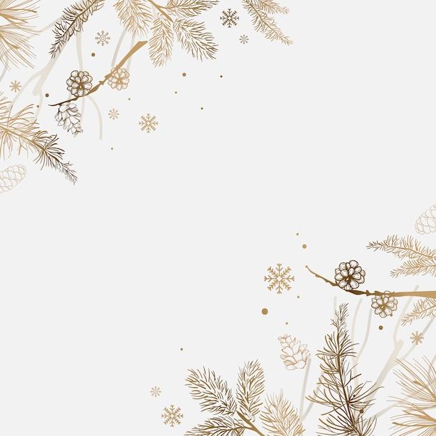 Fundo branco com vetor de decoração de inverno Vetor grátis