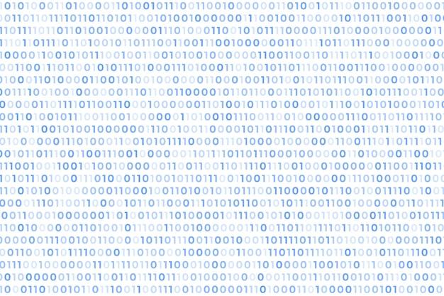Fundo branco de código binário com números flutuantes Vetor grátis