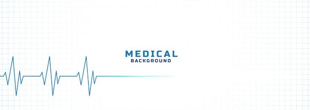 Fundo branco de médico e de saúde com linha de eletrocardiograma Vetor grátis