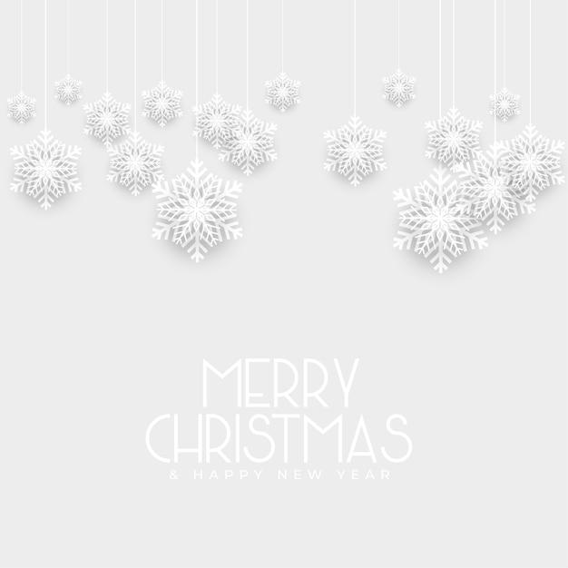 Fundo branco de natal com decoração de flocos de neve Vetor grátis
