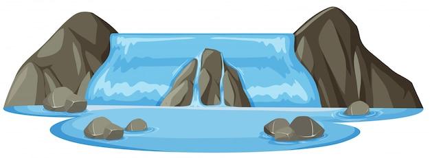 Fundo branco isolado cachoeira natural Vetor Premium