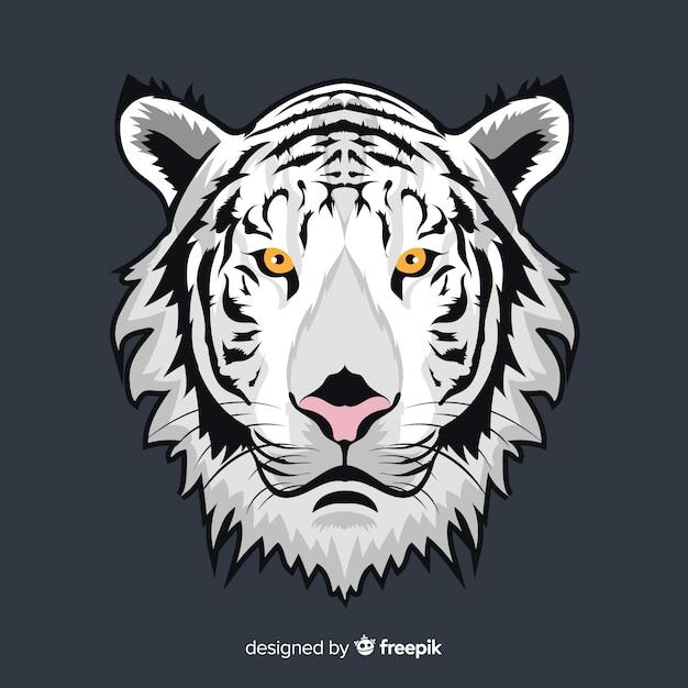 Fundo branco tigre Vetor grátis