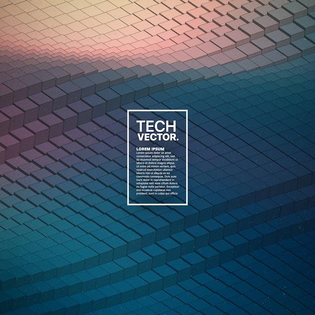 Fundo brilhante colorido da forma de onda tecnologico abstrata do vetor. Vetor Premium