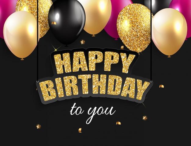 Fundo brilhante de balões de feliz aniversário Vetor Premium