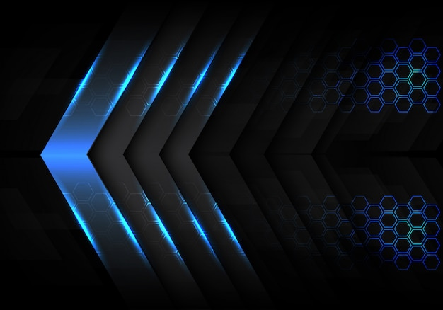 Fundo claro metálico azul do hexágono do sentido da seta. Vetor Premium