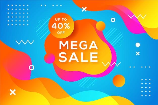 Fundo colorido abstrato de memphis mega vendas Vetor Premium