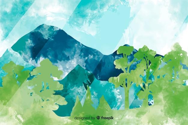 Fundo colorido abstrato paisagem aquarela Vetor grátis