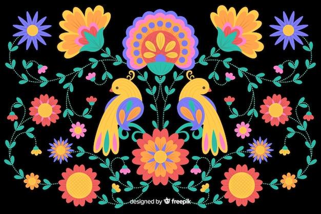 Fundo colorido bordado mexicano Vetor grátis